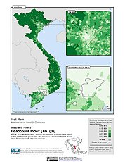 Map: Poverty Headcount Index, ADM3: Vietnam