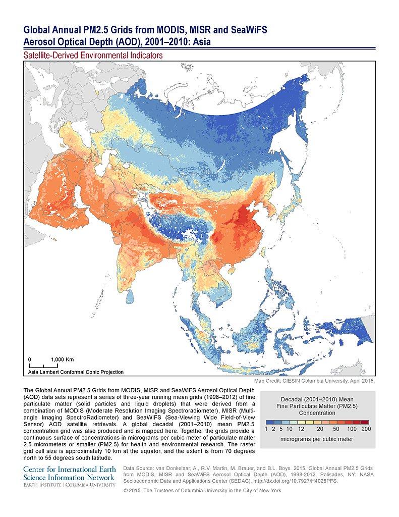 Maps SatelliteDerived Environmental Indicators SEDAC - Asia satellite map