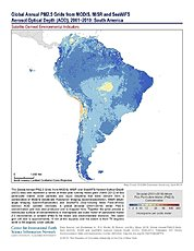 Map: PM2.5 Grids (2001-2010): South America