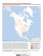 Map: Total Area Burned All Fire Types (2015): North America