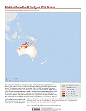Map: Total Area Burned All Fire Types (2015): Oceania