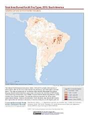 Map: Total Area Burned All Fire Types (2015): South America