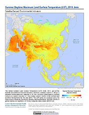 Map: Summer Daytime Maximum LST (2013): Asia