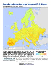 Map: Summer Daytime Maximum LST (2013): Europe