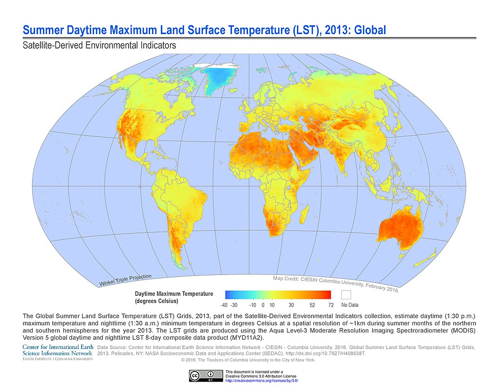 Maps » Global Summer Land Surface Temperature (LST) Grids, v1: | SEDAC