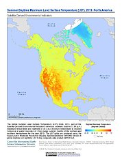 Map: Summer Daytime Maximum LST (2013): North America