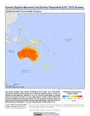 Map: Summer Daytime Maximum LST (2013): Oceania