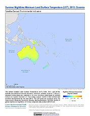Map: Summer Nighttime Minimum LST (2013): Oceania