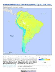 Map: Summer Nighttime Minimum LST (2013): South America