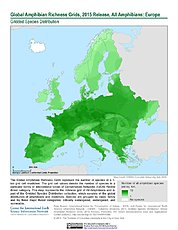 Map: Amphibian Richness, 2015: Europe