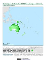 Map: Amphibian Richness, 2015: Oceania