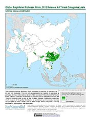 Map: Amphibian Richness - All Threats, 2015: Asia