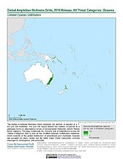 Map: Amphibian Richness - All Threats, 2015: Oceania