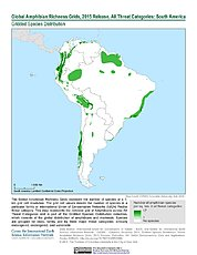 Map: Amphibian Richness - All Threats, 2015: South America