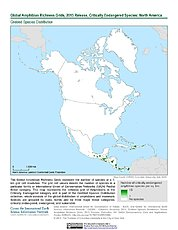 Map: Amphibian Richness - Critically Endangered, 2015: North America