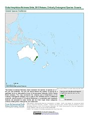 Map: Amphibian Richness - Critically Endangered, 2015: Oceania