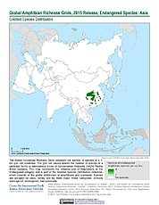 Map: Amphibian Richness - Endangered, 2015: Asia