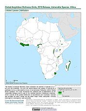 Map: Amphibian Richness - Vulnerable, 2015: Africa