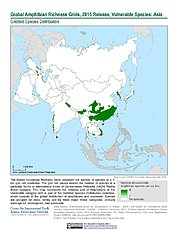 Map: Amphibian Richness - Vulnerable, 2015: Asia