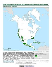Map: Amphibian Richness - Vulnerable, 2015: North America