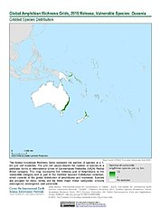 Map: Amphibian Richness - Vulnerable, 2015: Oceania