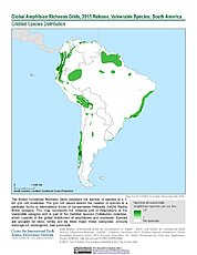 Map: Amphibian Richness - Vulnerable, 2015: South America
