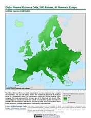 Map: Mammal Richness, 2015: Europe