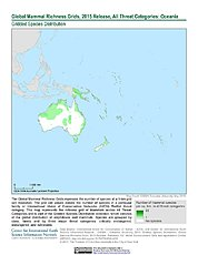 Map: Mammal Richness - All Threats, 2015: Oceania