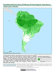 Map: Mammal Richness - All Threats, 2015: South America