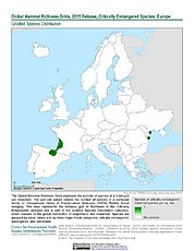 Map: Mammal Richness - Critically Endangered, 2015: Europe
