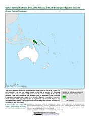 Map: Mammal Richness - Critically Endangered, 2015: Oceania