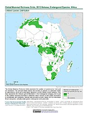 Map: Mammal Richness - Endangered, 2015: Africa