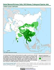 Map: Mammal Richness - Endangered, 2015: Asia