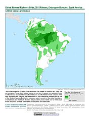 Map: Mammal Richness - Endangered, 2015: South America