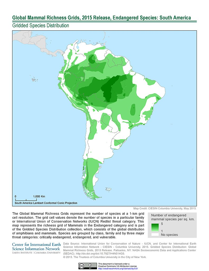 Maps global mammal richness grids 2015 release sedac mammal richness endangered 2015 south america gumiabroncs Choice Image