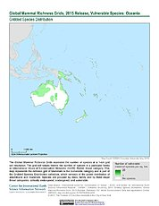 Map: Mammal Richness - Vulnerable, 2015: Oceania