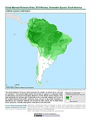 Map: Mammal Richness - Vulnerable, 2015: South America