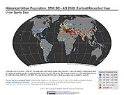 Map: Historical Urban Population (3700BC - AD2000): Earliest Year