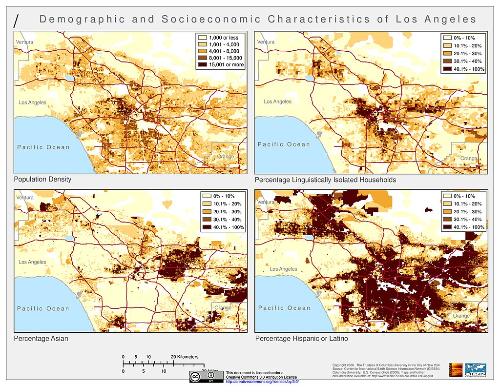 Maps  US Census Grids SEDAC - Los angeles ventura map