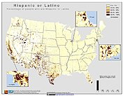 Map: % Hispanic or Latino Population (2000): U.S.A.