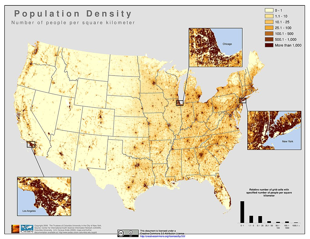 Maps History US Census Bureau - Us map with population density