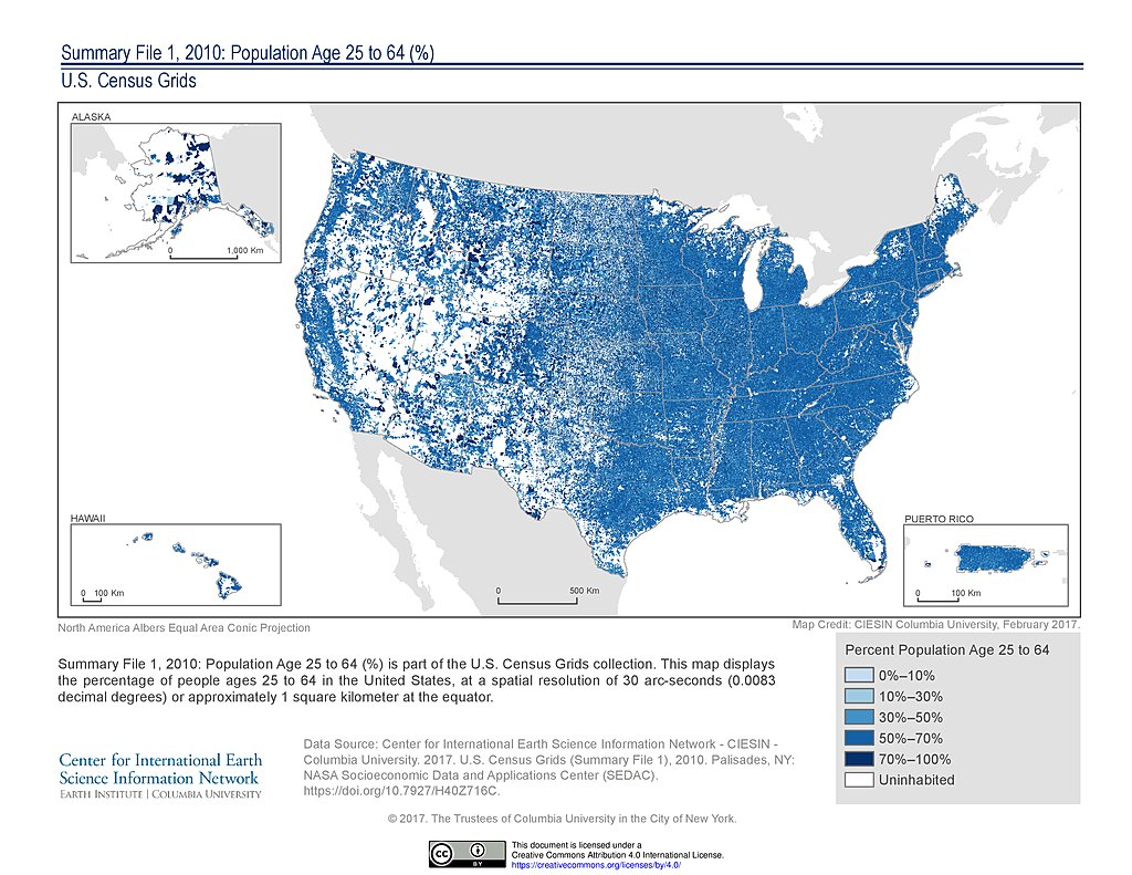 Maps US Census Grids SEDAC - Us population centers map