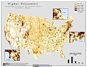 Map: % Population with Higher Education (2000): U.S.A.