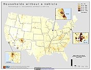 Map: % Households Without a Vehicle (2000): U.S.A.