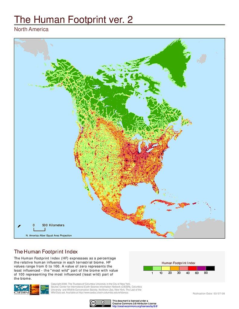 Maps global human footprint geographic v2 sedac human footprint index v2 north america gumiabroncs Choice Image
