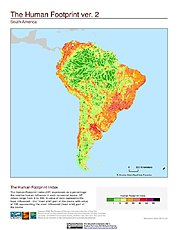Map: Human Footprint Index, v2: South America
