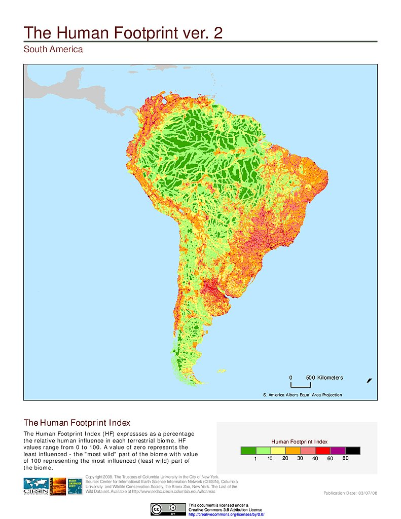 Map gallery sedac human footprint index v2 south america gumiabroncs Images
