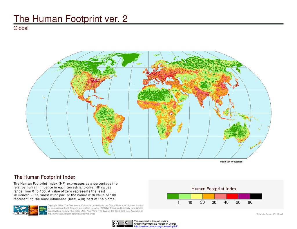 Maps Global Human Footprint Geographic V SEDAC - Most up to date maps