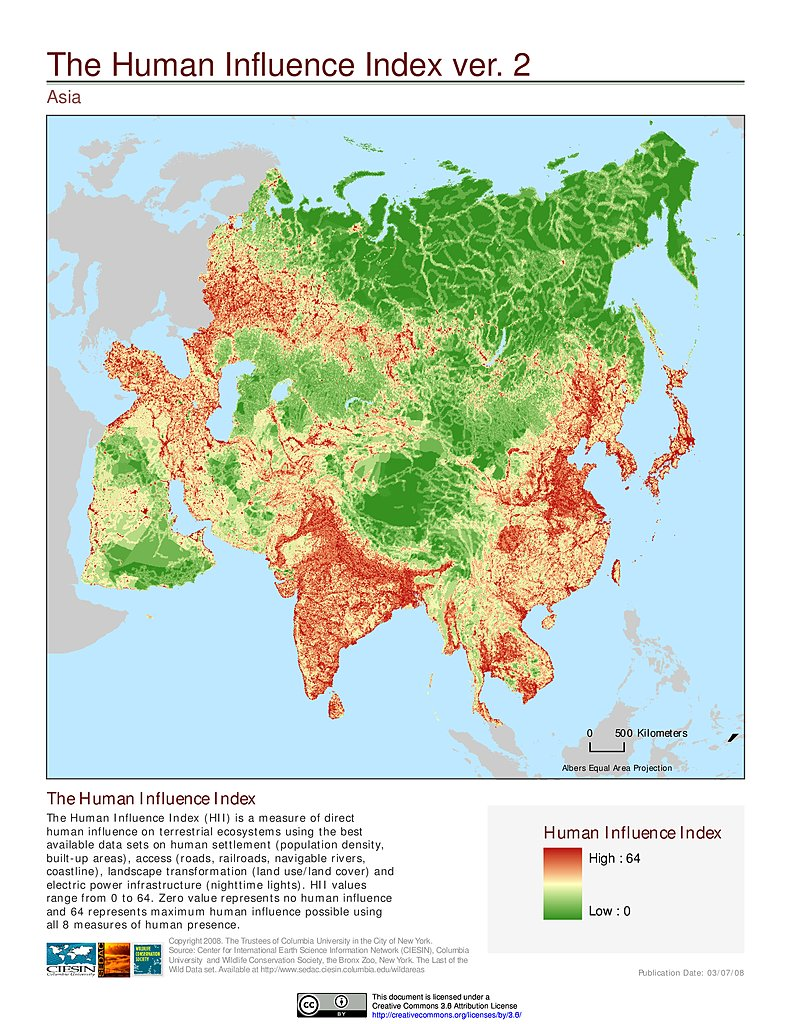 Global Map Of Asia.Maps Global Human Influence Index Geographic V2 Sedac
