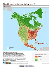 Map: Human Influence Index, v2: North America